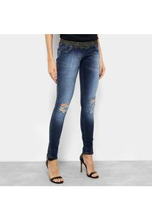 ... Calça Jeans Skinny Biotipo Lurex Cintura Média Feminina - Feminino-Azul 93b870414f7