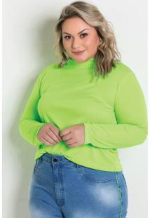 Blusa Verde Neon Gola Alta Plus Size
