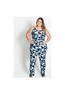 Macacão Feminino Plus Size Geométrico Secret Glam Azul