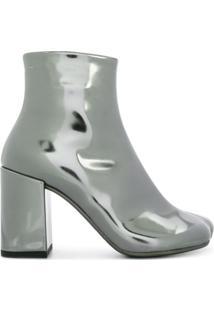 Mm6 Maison Margiela Ankle Boot De Couro - Prateado