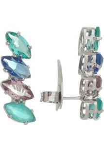 Brinco Ear Cuff Cristais S E Banho Em Ródio - Feminino-Azul Piscina+Verde
