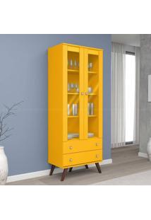 Cristaleira 2 Portas Com Vidro E 2 Gavetas Esm 217 Com Pés Palito Amarelo - Móvel Bento