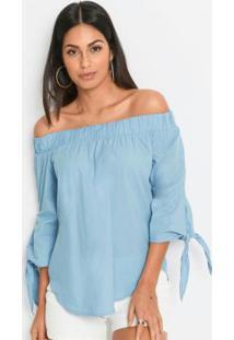 Blusa Ombro A Ombro Com Amarração Azul