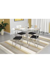 Conjunto Mesa Reno Com 4 Cadeiras Napoles Preto E Cromado Kappesberg Crome