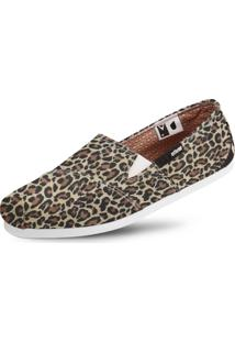 Alpargata Usthemp Slim Vegano Casual Estampa Leopard Marrom