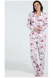 Pijama Feminino Manga Longa Floral Marisa