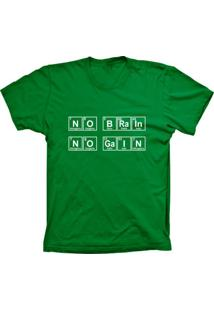 Camiseta Baby Look Lu Geek No Brain Verde