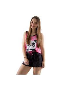 Baby Doll 4 Estações Pijama Veráo Feminino Panda Curto Regata Adulto Rosa