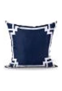 Capa De Almofada Para Sala Azul Marinho Estampada 45Cm X 45Cm Com Zíper Tecido Microfibra