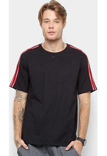 Camiseta Cavalera Listras Manga Masculina - Masculino-Preto