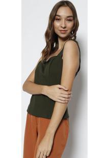 Blusa Cropped Com Pespontos- Verde- Milioremiliore