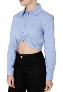 Camisa Manga Longa Feminina Autentique Azul