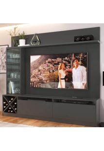 Estante Home Para Tv Até 50 Polegadas 1 Porta De Vidro Sorrento Quiditá Grafite