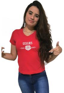 Camiseta Feminina Gola V Cellos Sigle Rose Premium Vermelho
