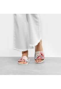 Chinelo Moleca Slide Floral Feminino - Feminino-Branco