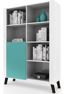 Estante Biblioteca Com Nichos E 1 Porta Alpha Branco/Azul Acqua Colibri Móveis