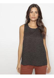 Blusa Texturizado Com Recorte Vazados- Preta & Marromhering