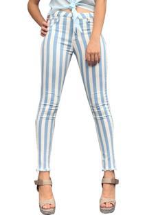 3e994ad9c ... Calça Capri Rosa Line Jeans Listrada Azul
