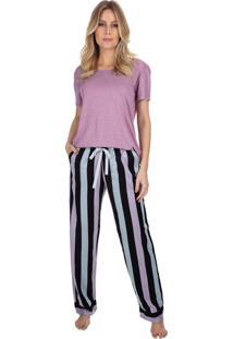 Pijama Com Bolso E Manga Curta Listrado Rosê