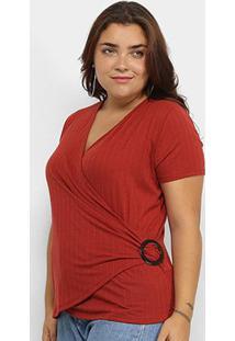 Blusa Plus Size Lecimar Transpassada Feminina - Feminino-Vermelho