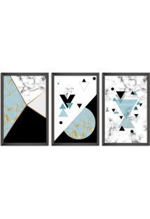 Quadro Oppen House 60X120Cm Abstrato Escandinavo Coloridos Geométrico Triangulos Moldura Preta Sem Vidro Mod: Oh5715