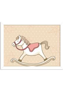 Quadro Decorativo Infantil Cavalo De Balanço Branco - Médio