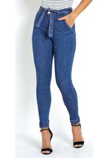 Calça Jeans Jogger Cropped Sawary Com Amarração