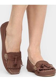 Mocassim Couro Shoestock Franja Barbicachos Feminino - Feminino