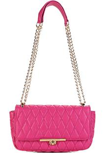 Bolsa Jorge Bischoff Transversal Matelassê Com Corrente - Feminino-Pink