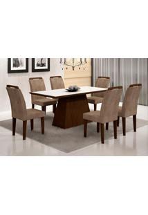Conjunto De Mesa Luna Com 6 Cadeiras Athenas Castor Branco Com Animalle Chocolate