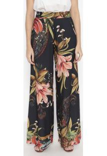 Calça Pantalona Floral - Preta & Verde - Wool Linewool Line