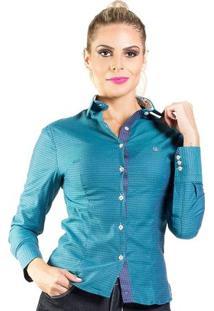 Camisa Carlos Brusman Feminina Slim - Feminino-Azul