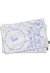 Jogo Americano Rascunho (2 Peças) Geek10 Branco