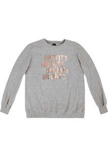 Blusão Feminino Em Malha De Algodão Texturizado Com Estampa Em Foil