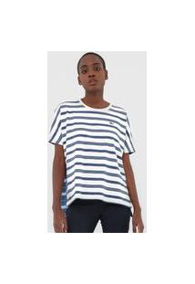 Camiseta Lacoste Listrada Azul/Off-White