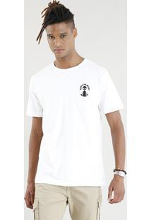 Camiseta Masculina Com Bordado E.T. Manga Curta Gola Careca Branca
