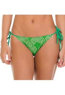 Calcinha Tanga Em Renda- Verde & Bege Claro- Use Fleuse Flee