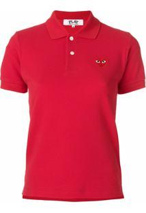 Comme Des Garçons Play Camisa Polo Com Logo - Vermelho