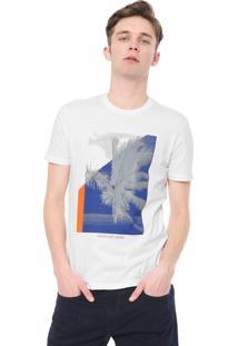 Camiseta Calvin Klein Jeans Reta Estampada Branca