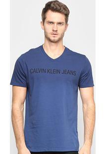 Camiseta Calvin Klein Estonada Masculina - Masculino-Azul Escuro