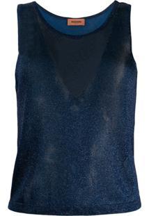 Missoni Blusa Metalizada De Tricô - Azul