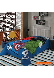 Manta Infantil Avengers (150X220) Poliéster Azul