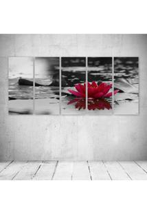 Quadro Decorativo - Red Flower - Composto De 5 Quadros