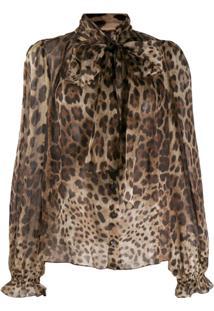 Dolce & Gabbana Blusa Animal Print - Marrom