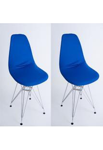 Kit Com 02 Capas Para Cadeira De Jantar Eiffel Wood Azul - Kanui
