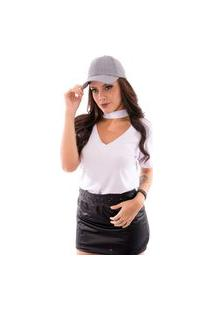 Blusa Up Side Wear Choker Branca