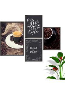 Kit Conjunto 4 Quadro Oppen House S Frases O Dia Começa Com Café Lojas Cafeteria Xícaras Grãos Moldura Preta Decorativo Interiores Sem Vidro
