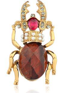 Broche Rincawesky Escaravelho Dourado