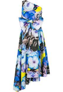 Msgm Vestido Com Estampa Floral - Azul