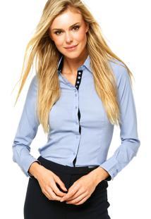 Camisa Facinelli Botões Lisa Azul